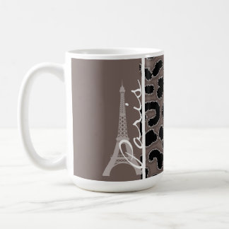 Paris; Deep Taupe Leopard Animal Print Coffee Mug