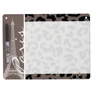 Paris; Deep Taupe Leopard Animal Print Dry Erase Board With Keychain Holder