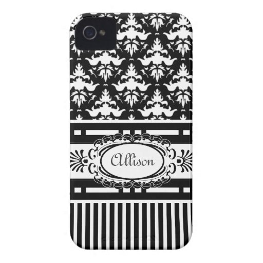 Paris Demoiselle Black and White Damask iPhone 4 Cover