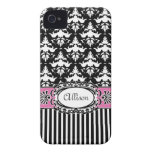 Paris Demoiselle Damask Pink and Black iPhone 4 Cases