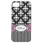 Paris Demoiselle Damask Pink and Black iPhone 5 Covers