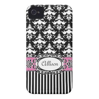 Paris Demoiselle Damask Pink and Black Case-Mate iPhone 4 Case