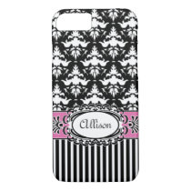 Paris Demoiselle Damask Pink and Black iPhone 7 Case