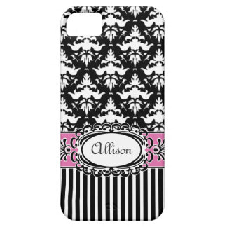 Paris Demoiselle Damask Pink and Black iPhone SE/5/5s Case