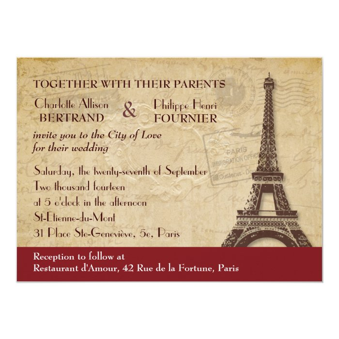 Paris Destination Wedding Invitation