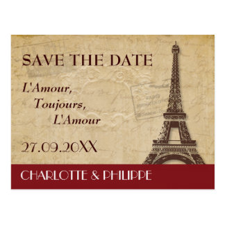 Paris Destination Wedding Save the Date Postcard