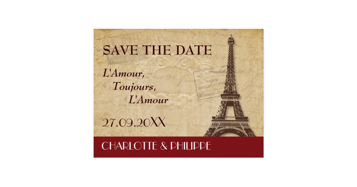 paris destination wedding save the date postcard zazzle