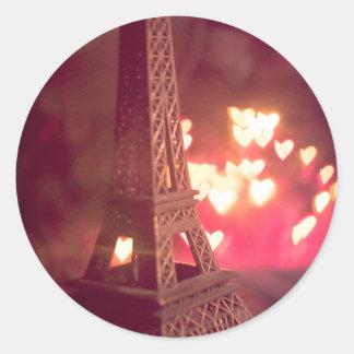 Paris dream love classic round sticker
