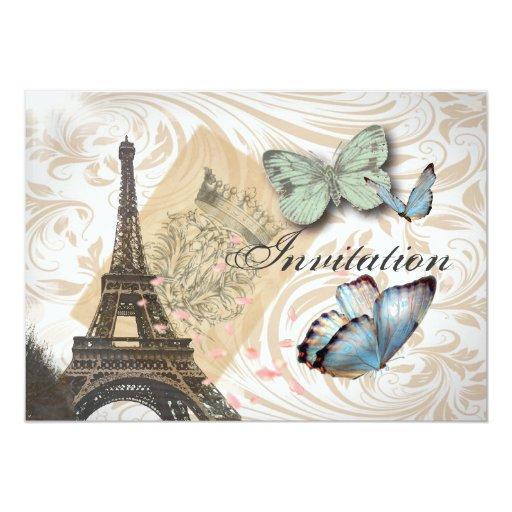 Paris Effiel Tower  Butterfly Wedding Invitation
