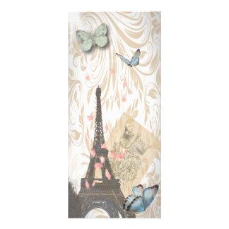 Paris Effiel Tower Butterfly Wedding Menu rackcard Custom Rack Card