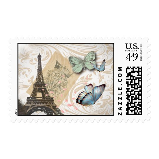 Paris Effiel Tower Butterfly Wedding Postage stamp