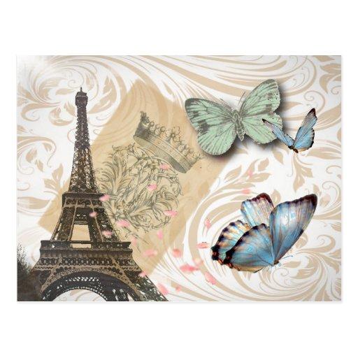 Paris Effiel Tower Butterfly Wedding save the date Postcard