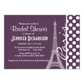 Paris; Eggplant Purple Polka Dots Invite