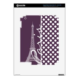 Paris; Eggplant Purple Polka Dots Skins For iPad 3