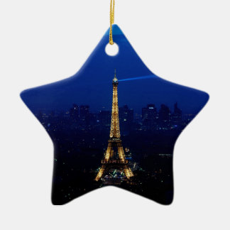 Paris Eifel Tower At Night Ceramic Ornament