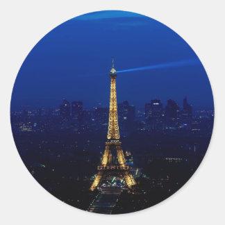 Paris Eifel Tower At Night Classic Round Sticker