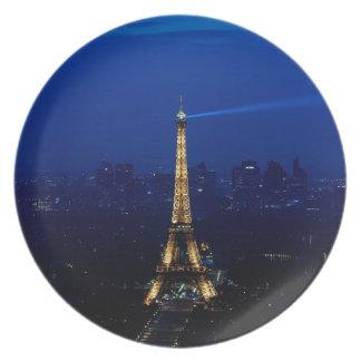 Paris Eifel Tower At Night Dinner Plate