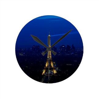 Paris Eifel Tower At Night Round Wallclock