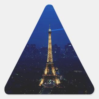 Paris Eifel Tower At Night Triangle Sticker