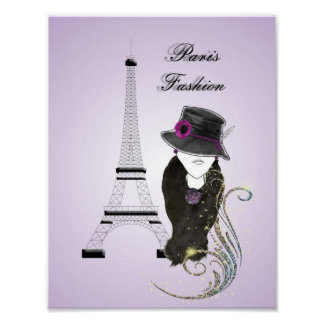 Paris Eifell Tower Fashion Lady Art Poster Print