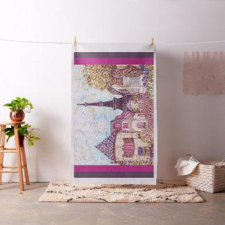 Paris Eiffel inspired pointillism fabric tapestry
