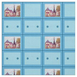 Paris Eiffel Inspired Pointillist Brooch Pattern Fabric