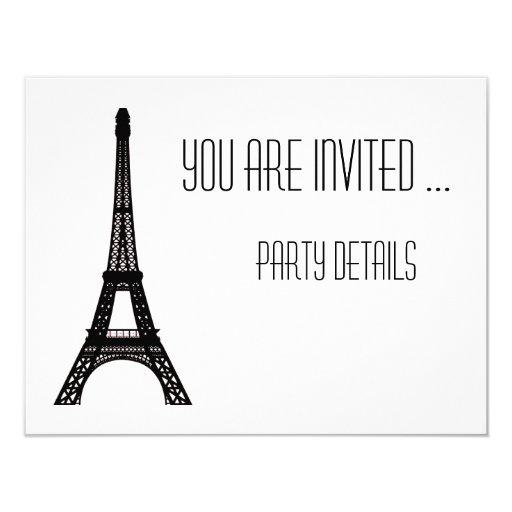 Paris Eiffel Tower 4.25x5.5 Paper Invitation Card