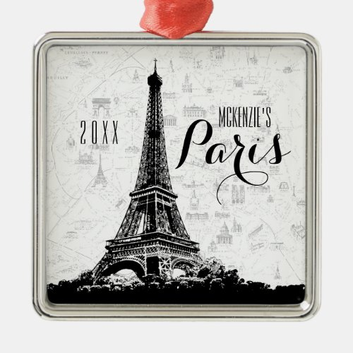 Paris Eiffel Tower Add Your Name Metal Ornament