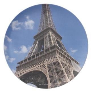 Paris Eiffel Tower against blue summer sky Melamine Plate