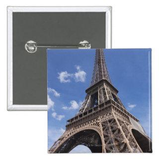 Paris Eiffel Tower against blue summer sky Pinback Button
