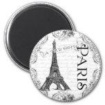 Paris Eiffel Tower and Scrolls 2 Inch Round Magnet