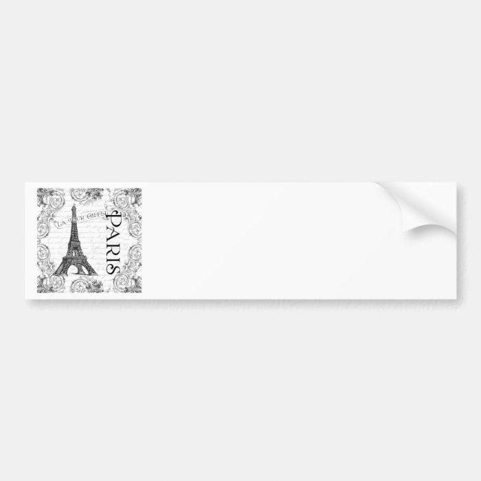 Paris Eiffel Tower and Scrolls Bumper Sticker