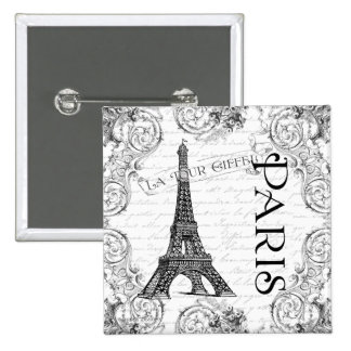 Paris Eiffel Tower and Scrolls Buttons