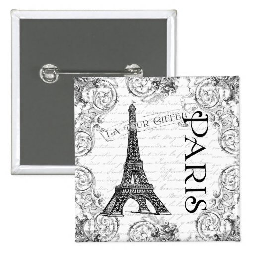 Paris Eiffel Tower and Scrolls 2 Inch Square Button