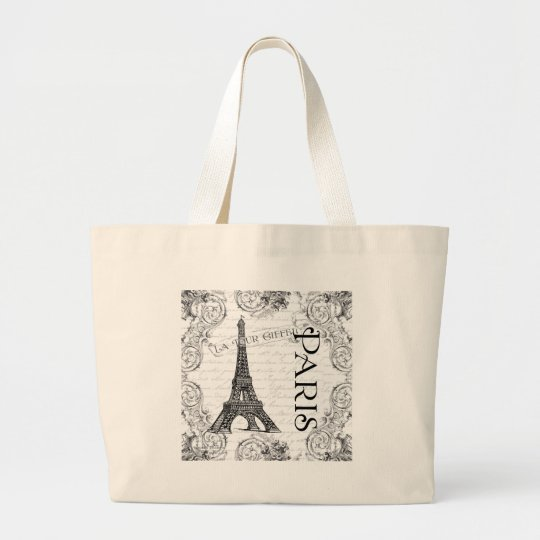 Paris Eiffel Tower and Scrolls Large Tote Bag