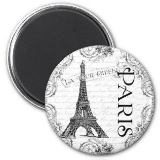 Paris Eiffel Tower and Scrolls Fridge Magnets