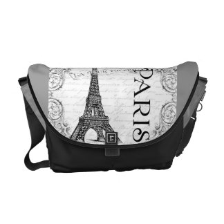 Paris Eiffel Tower and Scrolls Messenger Bag