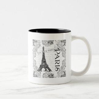 Paris Eiffel Tower and Scrolls Two-Tone Coffee Mug