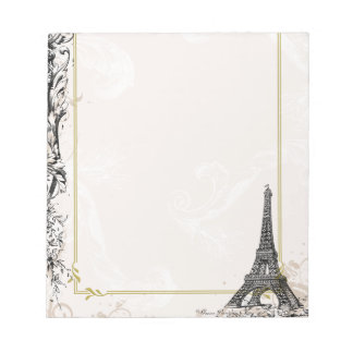 Paris Eiffel Tower and Scrolls Notepad