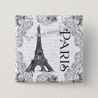 Paris Eiffel Tower and Scrolls Pinback Button