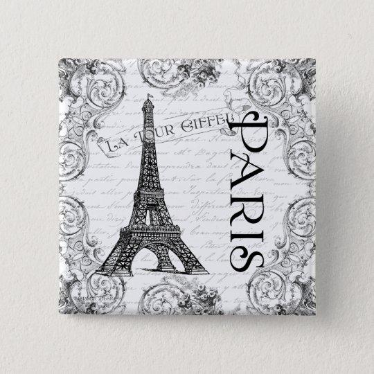 Paris Eiffel Tower and Scrolls Pinback Button