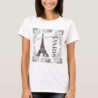 Paris Eiffel Tower and Scrolls T-Shirt