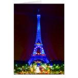 paris eiffel tower at night card