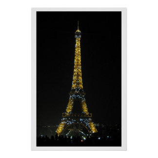 Paris, Eiffel tower at night Poster