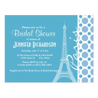 Paris, Eiffel Tower, Baby Blue Polka Dots Postcard