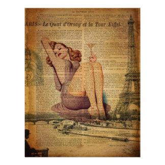Paris Eiffel tower Bachelorette Party Pin Up Girl Letterhead