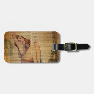 Paris Eiffel tower Bachelorette Party Pin Up Girl Luggage Tag