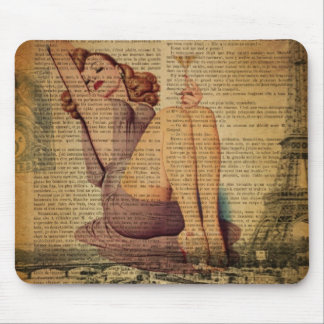 Paris Eiffel tower Bachelorette Party Pin Up Girl Mouse Pad