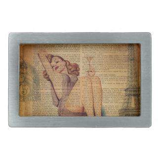 Paris Eiffel tower Bachelorette Party Pin Up Girl Rectangular Belt Buckle
