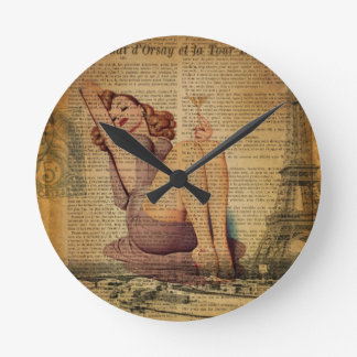 Paris Eiffel tower Bachelorette Party Pin Up Girl Round Clock